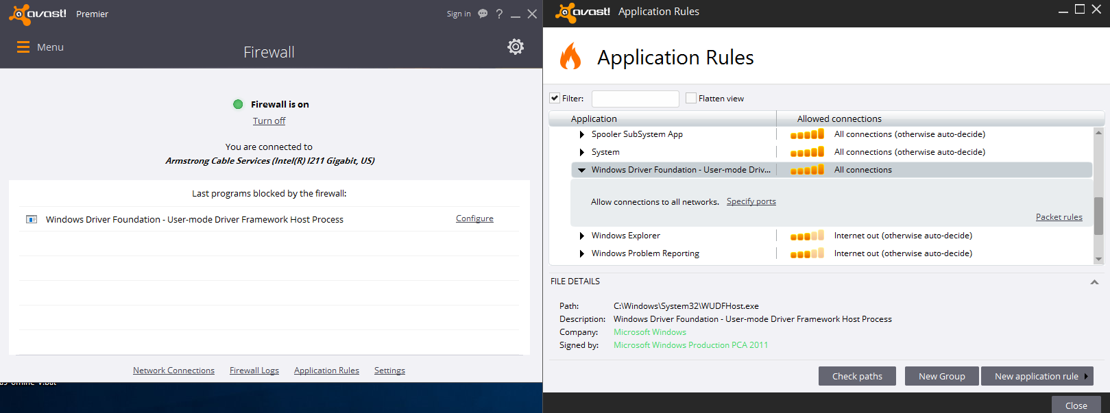avast and windows firewall